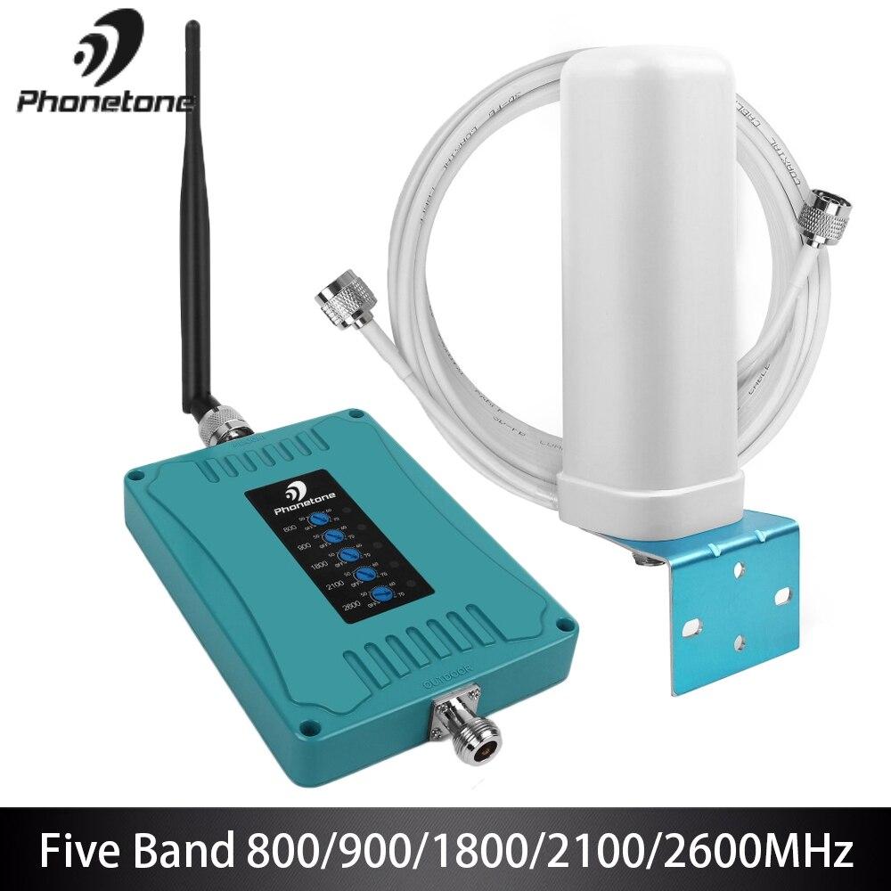 Amplificateur de Signal 2G 3G 4G B1/B3/B7/B8/B20 amplificateur de Signal LTE 900/1800/2100/800/2600 MHz répéteur de téléphone Mobile 5 bandes pour l'europe %