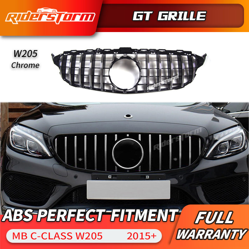 For Mercedes Benz C Class W205 GTR Style Grille C250 C300 Grill With  2015-2018