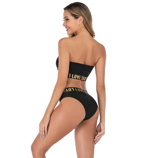Sexy Swimwear Women Solid Two-Piece Bandeau Print Swimsuit Push Up Bikini Set Brazilian Bikini c527