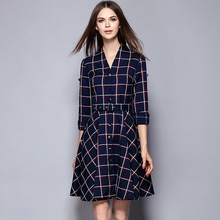 Msguide Womens Elegant Belted Tartan Check Plaid Button Long Sleeve V Neck Tunic Work Casual Office Party A-Line Swing Dress 868