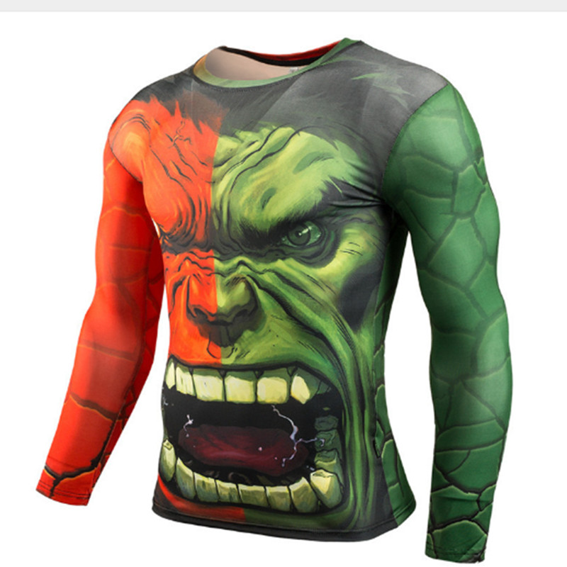 Hulk Hot Fitness 3D Superhero Tshirt High-resilience Tight-fitting Avengers Batman Men's Bodybuilding Long-sleeved T Shirt