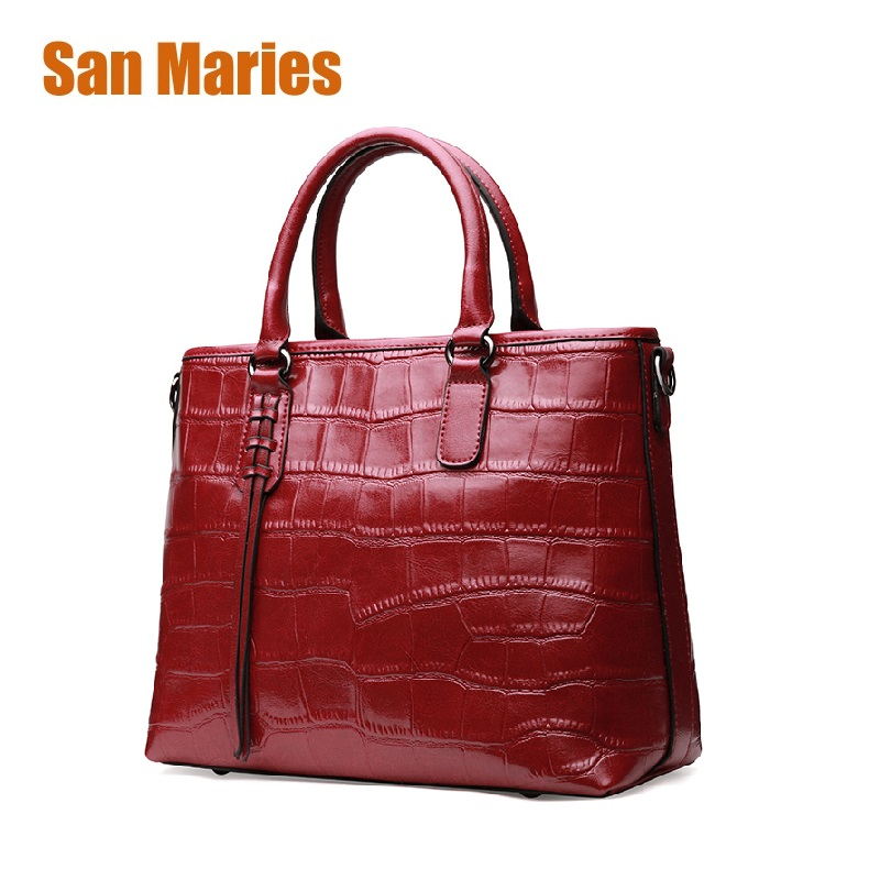 San Maries Women Messenger Bags Leather Handbags Big Women Bag High Quality Casual Female Bags Trunk Totes Shoulder Bag Ladies fashion women genuine leather handbags totes bags crossbody women s shoulder bag casual ladies travel messenger bag high quality