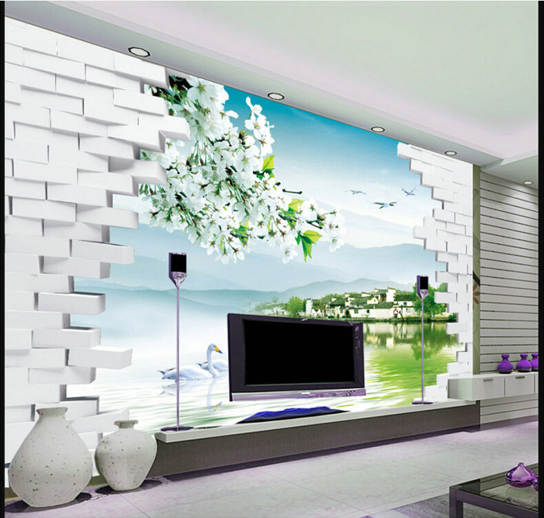 Fashion 3d tv backdrop decorative painting scenery for Scenery wallpaper for living room