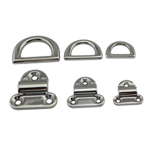6mm/8mm/10mm Stainless Steel D Ring Deck Folding Pad Eye Lashing Tie Down Cleat for Marine Yacht Boat Accessories