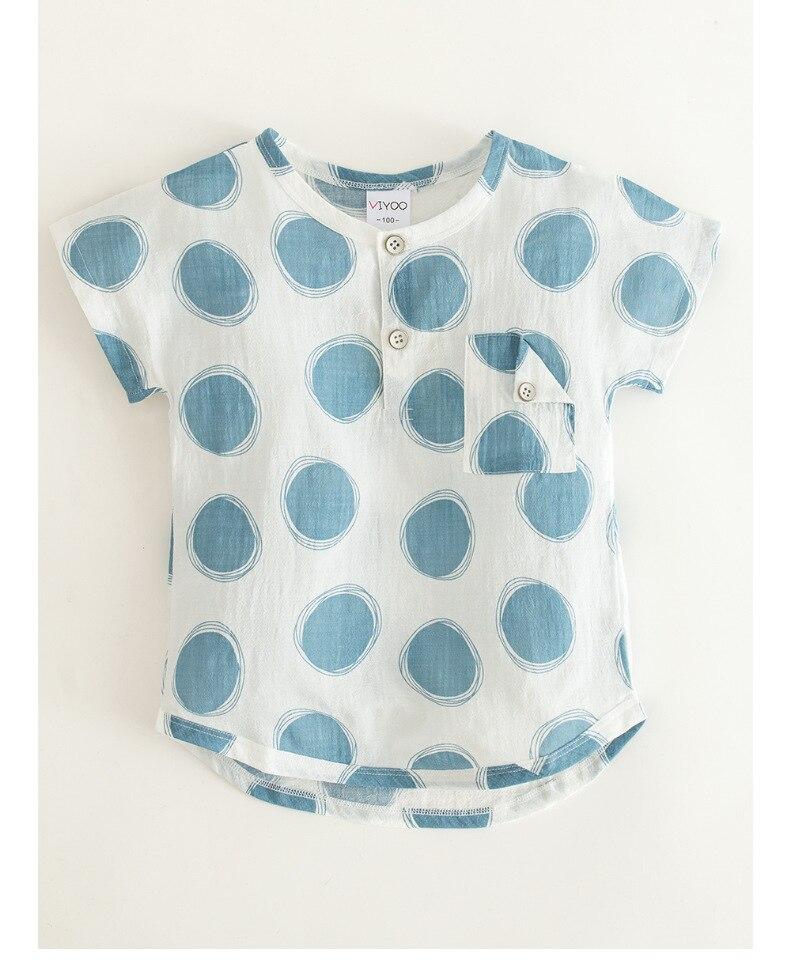 Cotton Shirt Clothing Circle-Print Country-Style Baby-Boys-Girls Short-Sleeve Children's