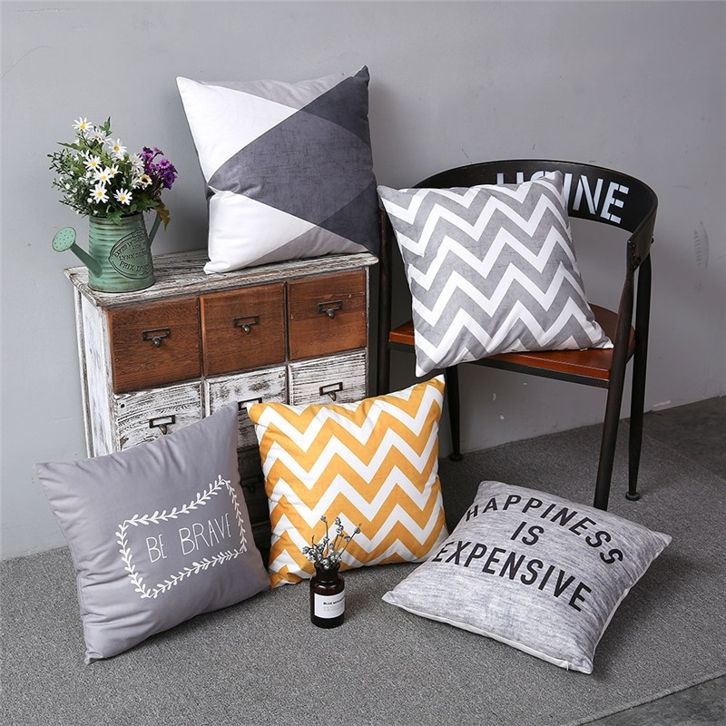 Romantic Grey Geometric Print Pillow Cover Colorful Simple Stripe Sofa Cushion Cover Living Bedroom Decor Polyester Pillow Case
