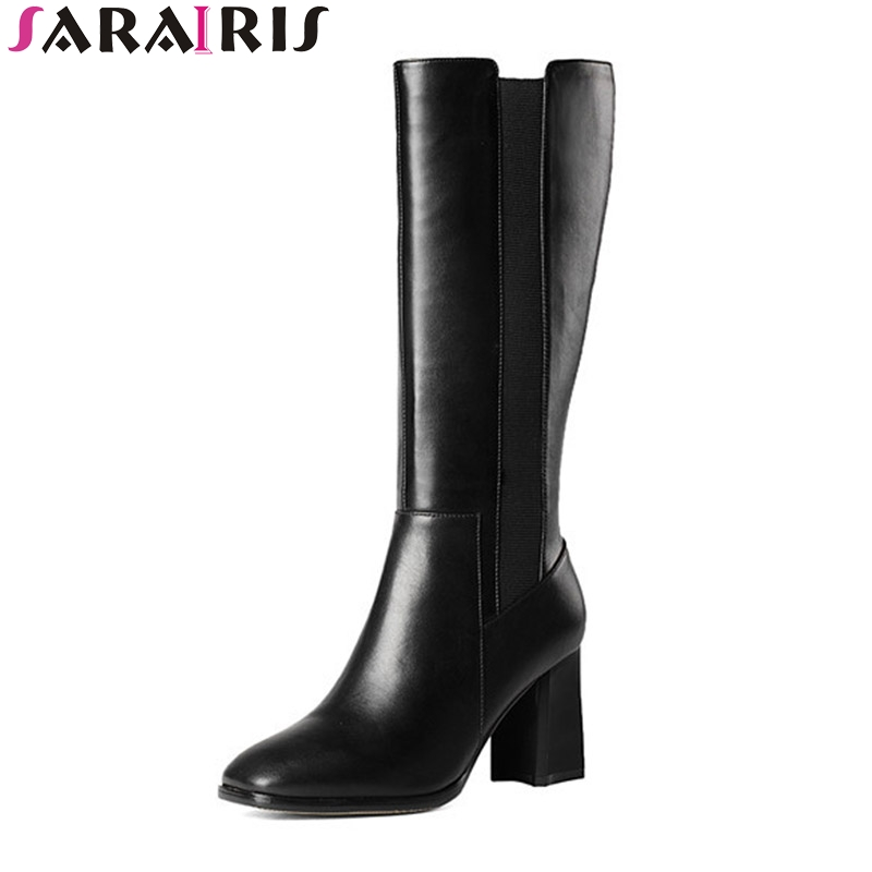 SARAIRIS Winter Fashion Black Cow Leather Mid Calf Boots Woman Elastic Band & Zip Mature High Square Heel Women Shoes double buckle cross straps mid calf boots