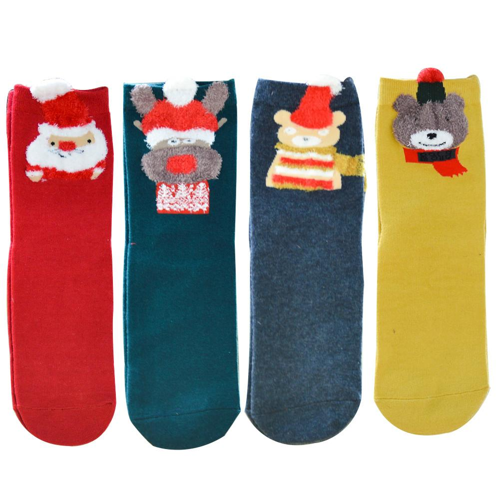 1 Pair New Cotton Socks Christmas Winter Women Warm Soft Cute Cartoon Socks Santa Claus Elk Snowman Party Accessories Wholesale