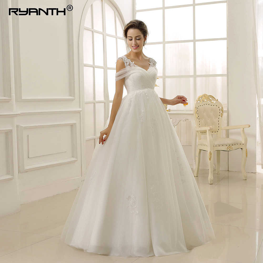 5e808545a5db6 Vestido de Noiva Plus Size White Maternity Wedding Dresses Lace ...