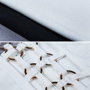 Image 4 - Kadın Vestidos bandaj elbise Rayon % 2017 yaz Hollow Out U boyun payetli Bodycon elbise siyah beyaz yemek seksi parti elbiseler