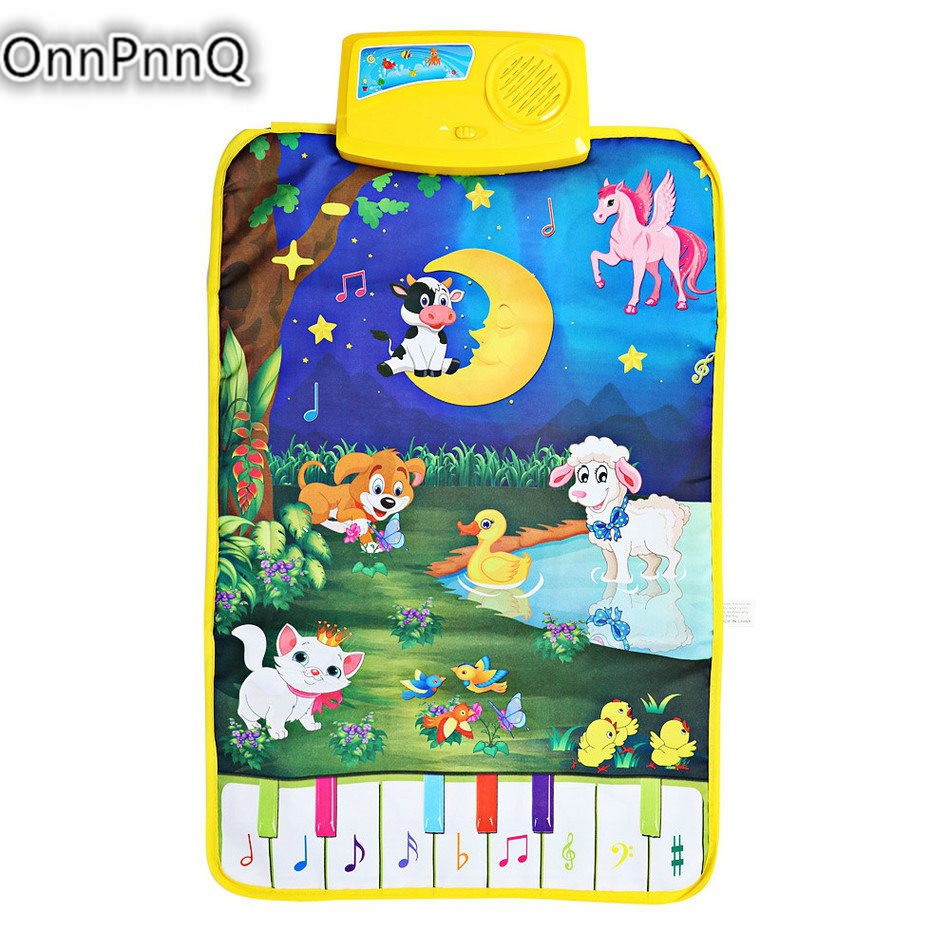 Infant Climb Plush Toys Rug Baby Cartoon Animal Play Gym Mat Kids Farm Music Playmat Modern Cute Musical Touch Crawling Carpet Language Learning