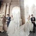 Envío gratuito importados de China vestido de boda largo del tren de encaje vestido con cuello en V Cap manga Backless una línea vestido de boda barato