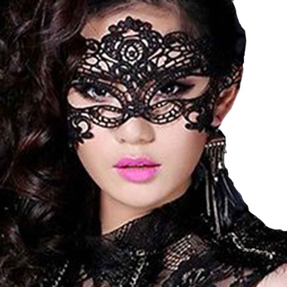 New Ladies Black Hollow-out Lace Dancing Masquerade Lace Prom Halloween Costume