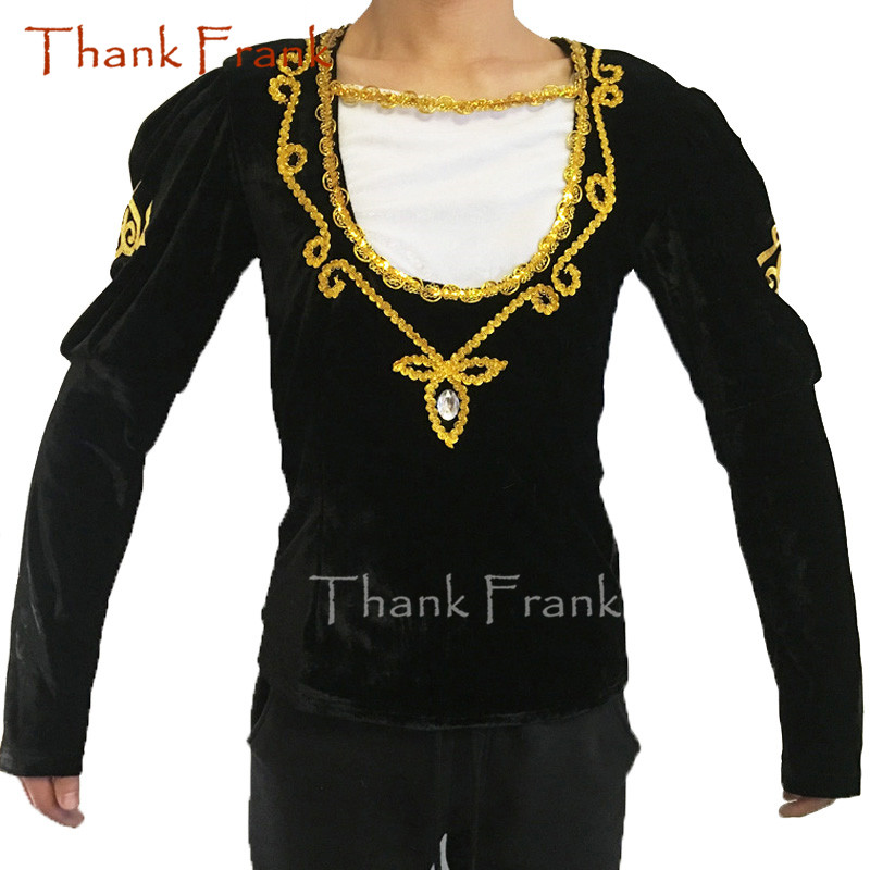 Boys Prince Ballet Top Custom Made Available Men Long Sleeve Gold Sequin Trim <font><b>Dance</b></font> Costume C414 image