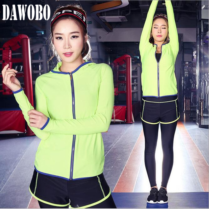 New women sports female yoga workout set clothes Zipper Long Sleeve Hoodies fitness suits Performing Gymnastics Sport Suit