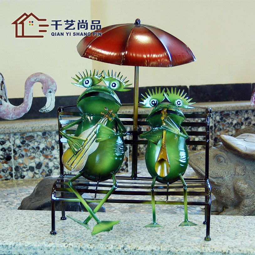 Thousands of new products unigarden iron animal living room furnishings decoration decoration decoration floor opening Home Furnishing frog special offer