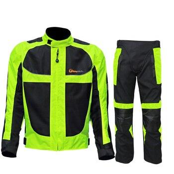 Men Motorcycle Jacket + Motorcycle Pants Set Windproof Motorcycle Racing Suit Protective Gear Moto Clothing Jacket & pants