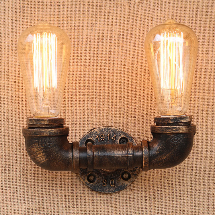 Iron Water Pipe Industrial Loft Style Wall Lamp Retro RH Wall Sconce Bedside Light Fixtures For Home Lighting Cafe Living Room black color pipe retro loft vintage iron shade wall lamp sconces industrial home lighting fixture for living room free shipping