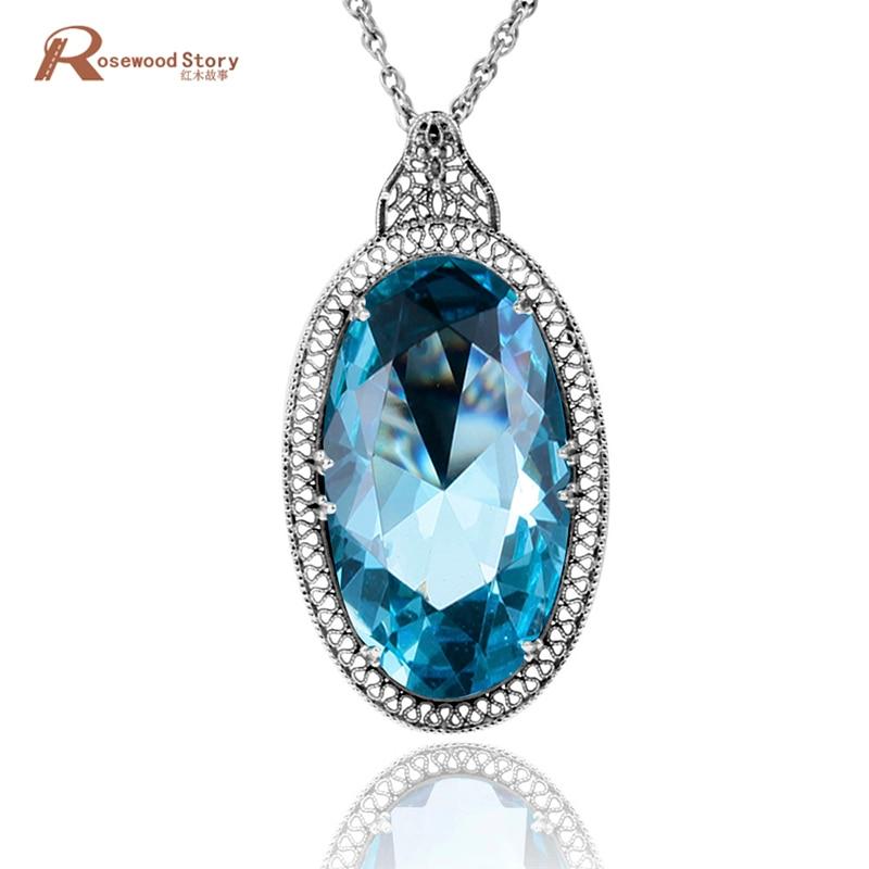 British princess Diana's vintage pedants soild 925 silver necklace big lab aquamarine pendant women engagement wedding jewelry