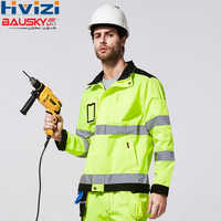 Männer Hallo Vis Yellow Arbeit Jacke Arbeits Cargo Mantel Jacke Männer Reflektierende Sicherheit Arbeitskleidung Kleidung freies verschiffen