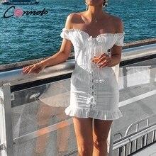 Conmoto Bianco Aderente Vestito Delle Donne di Autunno Inverno Sexy Manica Corta Vestito Da Partito Feminino Ruffle Lace up Mini Vestito Abiti