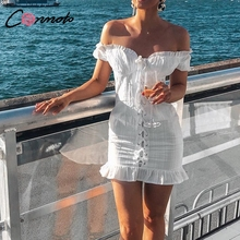 Conmoto White Bodycon Dress Women Sexy Short Sleeve Dress Feminino Ruffle Lace up Mini Dress Vestidos