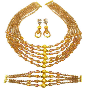 Gold AB Beaded Crystal Necklace Earrings Bracelet African Beads Jewelry Set for Women Nigerian Wedding Jewelry Sets 6C-XSD002