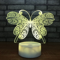 3D Butterfly night light creative new strange led light 7 color bedside lamp energy saving usb atmosphere light 746 (crack base)