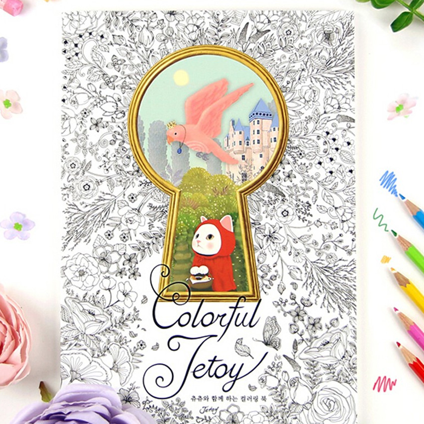 Colorful Jetoy Cat Coloring Books For Adults Relieve Stress Graffiti Painting Drawing Secret Garden Art