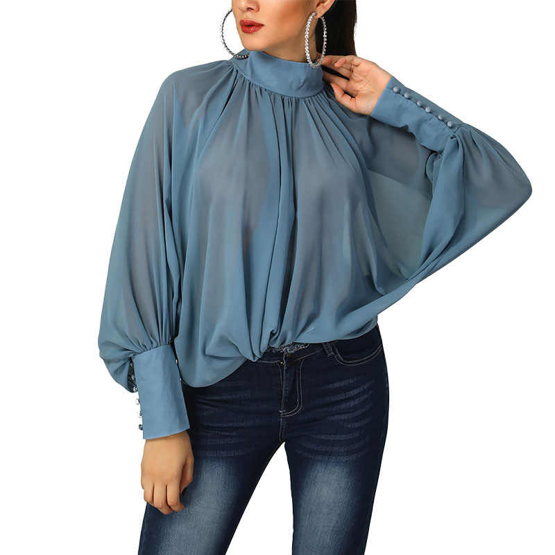 1d42982797b Womens Shirts Long Sleeve 2019 New Spring Batwing Sleeve Loose Chiffon  Blouses and Shirts Office Lady