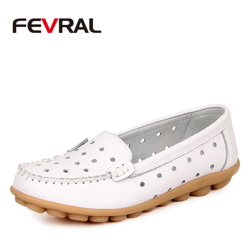 FEVRAL New Arrival Summer Woman Shoes 2018 Fashion Genuine Leather Loafers Flats With Hollow Out Casual Shoes Woman Size 35-42