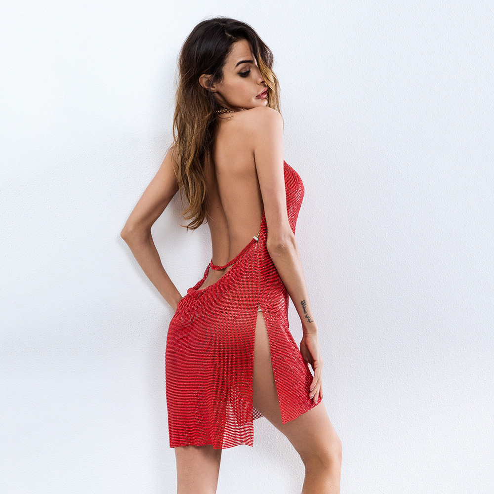 Rouge Zircons Nouvelle Night De Diamants Party Sexy Femmes Club Nouveau Red Halter Split Brillant Backless 2018 Plaqué Métalliques Robes Noël Pour BId0xd4
