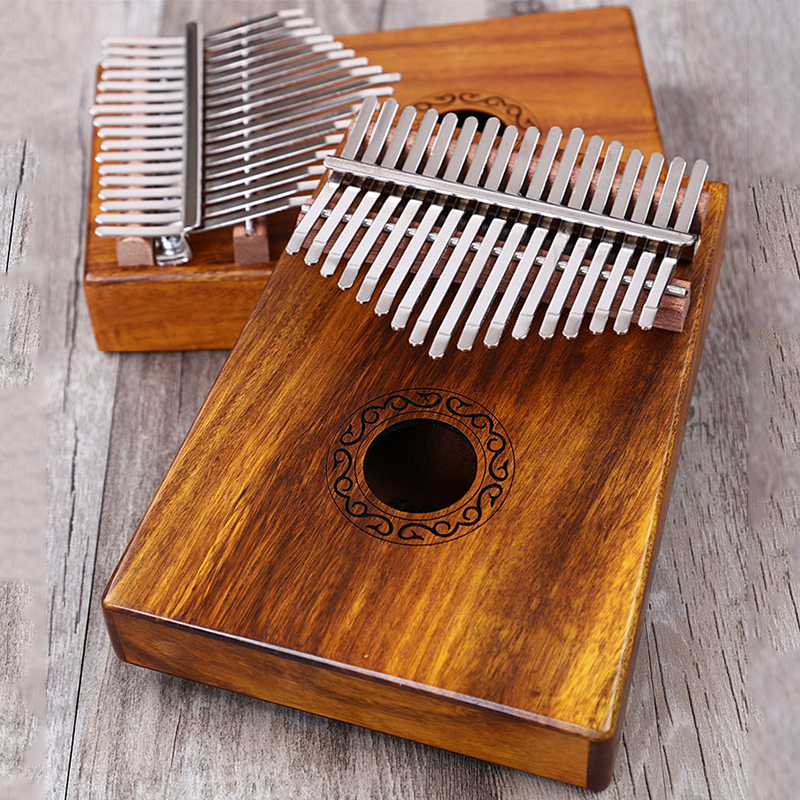 17 Key Kalimba Thumb Piano Solid Finger Piano Mbira Solid Acacia Wood- Hammer and Study Guide for Music Lovers Beginners Child image