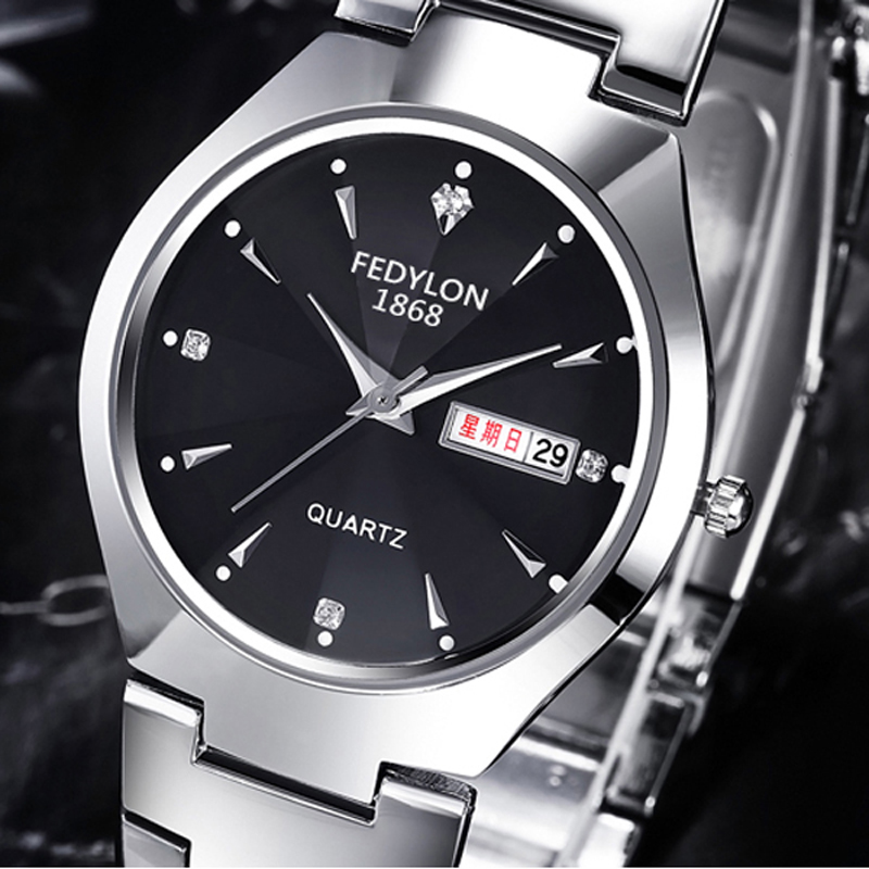 FEDYLON Top Brand Luxury Business Men Wristwatches Good Quality Dual Calendar Lovers Watches Women Quartz-Watch Reloj Hombre