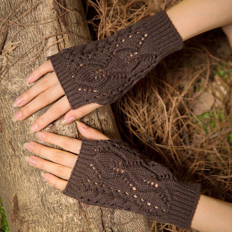 La MaxPa Women Gloves Stylish Hand Warmer Winter Gloves Women Arm Crochet Knitting Faux Wool Mitten Warm Fingerless Gloves K2144