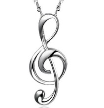 YX206 Fashion Jewelry Elegant 925 Sterling Silver Musical Note Pendant Necklace For Women Wholesale Free Shipping