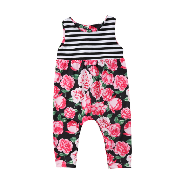 6f6c160fbf0 Newborn Summer Baby Girl Kids Floral Striped Romper Jumpsuit Clothes Outfit  Set Baby Clothing
