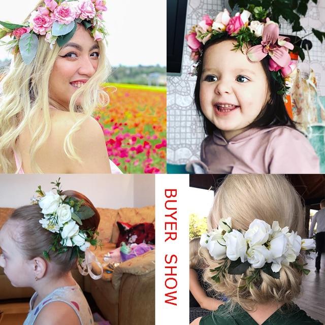 Crown Wedding Bride Wreath Of Flowers Head Band Women Hair Accessories 5