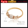 Statement Big  Gold Plated Imitation Diamond Crystal Rhinestone Spring Chunky Cable Wire Pattern Enamel Bangle Bracelets Gift