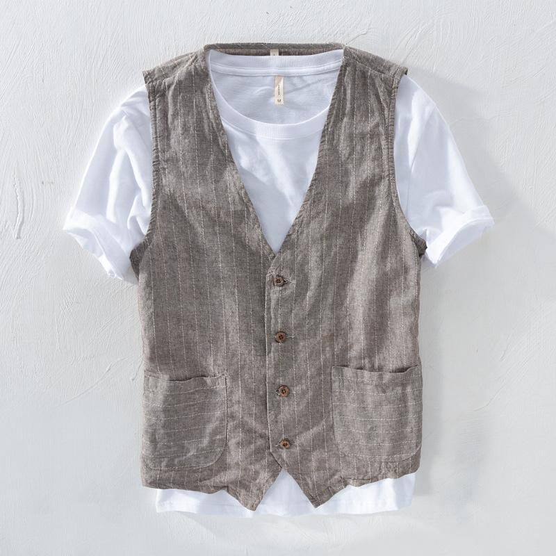 Mans Vintage Linen Suit Vest Slim Material 55%linen + 45%cotton Vest Male Casual Striped thin Waistcoat Vest Asian Size M 3XL