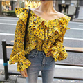 2017 Casual long sleeve blouse shirt women tops Ruffle Floral print blouse chemise V neck blusas Flare Sleeve Cotton Slim tops