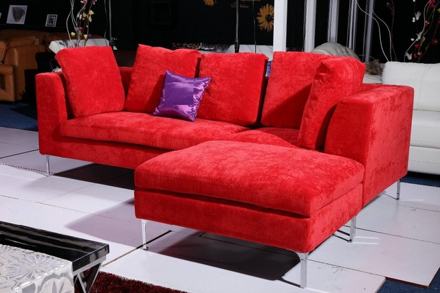 Big Red Velvet Fabric Sofa Set 0411 AF099