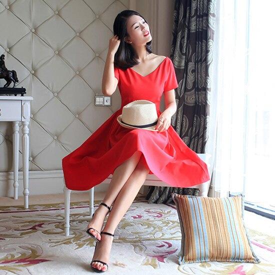Col Robe Taille Rockabilly Vintage S 50 Coton V Red Plus Swing Courtes Manches Vêtements Femmes De 4xl Rouge Gros La Robes À Été Pinup O5qwH7Ix0c