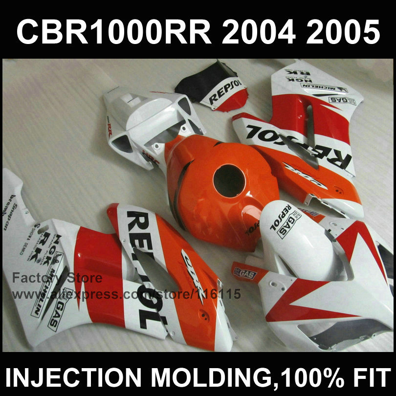 Hot sale ! Bodyworks Injection mold for  CBR 1000RR orange repsol fairings 2004 2005  cbr1000rr 04 05  fairing kit aftermarket injection mold custom design givi fairing body kit for 04 05 cbr1000rr cbr 1000 rr 2004 2005