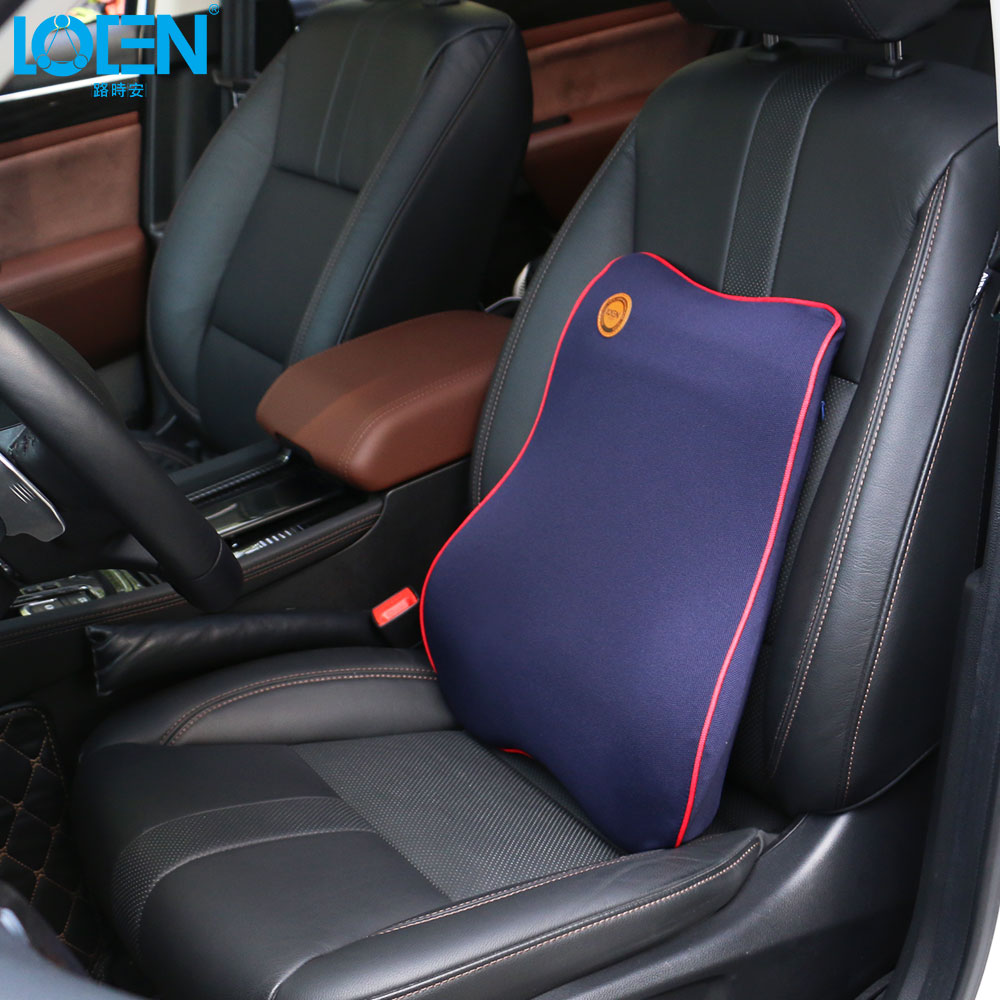 LOEN Nouvelle Mémoire coton Supports de Siège de Voiture Lombaire Back Support Voiture Coussin De Siège De Bureau Chaise Noir Lombaire Coussin Pour BMW