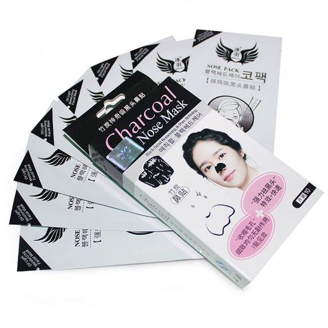 10 unids/caja limpiador fuerte de espinillas de bambú de carbón para la nariz tiras de mascarilla para limpieza de poros