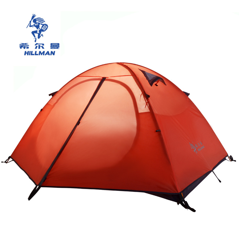 Hillman High Quality 3 Person Double Layer Aluminum Poles Waterproof Windproof Camping Tent Barraca Beach Tent mobi outdoor camping equipment hiking waterproof tents high quality wigwam double layer big camping tent
