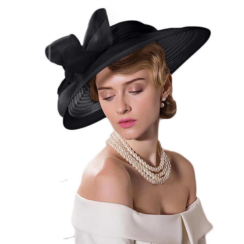 754270d482936 ... FS Black White Wedding Large Wide Brim Women Hats Vintage Fedoras  Elegant Bow Kentucky Derby Church ...