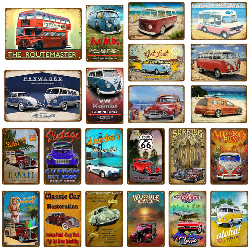 Vintage Hot Rods Bus Car Metal Signs American Bus Campers Poster Pub Bar Garage Home Decorative Wall Art Painting Plaque