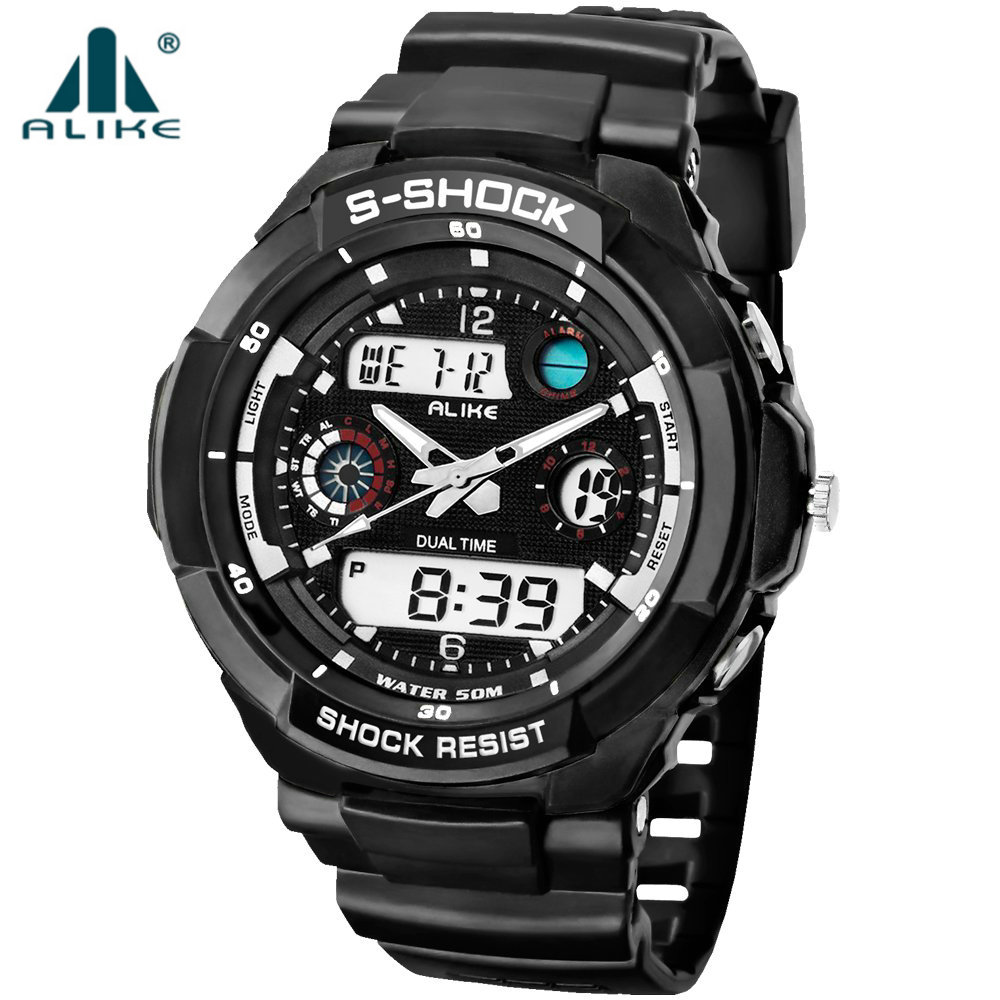 Military Watch Men 2018 Mode Casual Quartz Analog-Digital Klocka Armbandsur Relogio Masculino Mänskliga Sportsklockor Dual Time